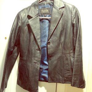 Women's leather black jacket